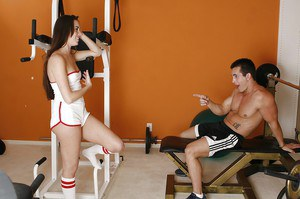 Sporty teen with long legs Bailey Bam gives head and gets fucked in the gym