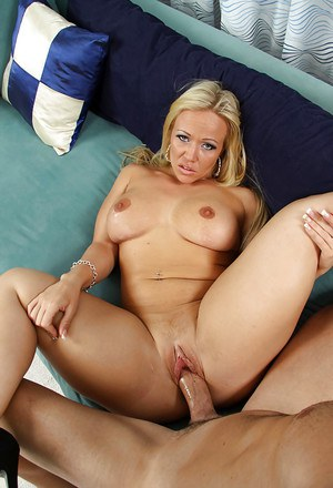 Lascivious blonde cougar sucks and fucks a stiff cock for pussy creampie