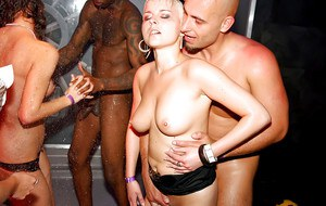 Sensuous party sluts enjo a wild sex orgy at the night club party