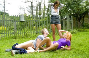 Lucy Bell gets shagged and pissed on having FFM groupsex outdoor