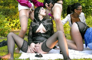 Kinky european fashionistas make a fully clothed lesbian pissing orgy outdoor