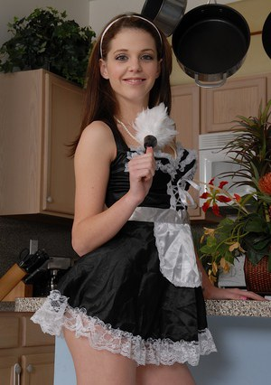 Amazingly lovely young maid undressing and exposing her pink pussy