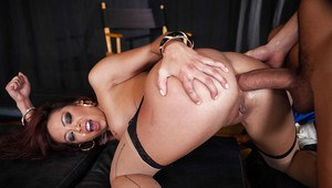 Busty asian bombshell gets double penetrated by well-hung guys