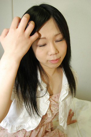 Shy asian teen getting nude and showing off her hairy gash in close up