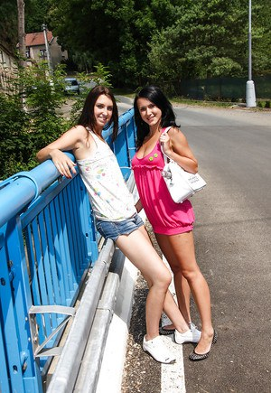 Filthy teenage sweeties have some lesbian fun with their toys outdoor