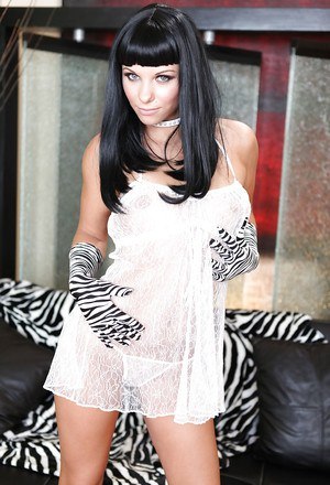 Wooing raven-haired babe has some anal fun with a huge black dildo