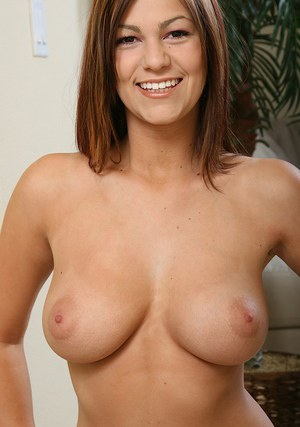 Cute amateur with amazingly perfect bosoms undressing and caressing herself