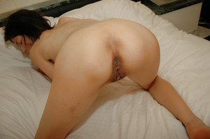 Slippy asian MILF with tiny tits gets her hairy cunt nailed and creampied