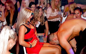 Lecherous ladies acting sassy at the drunk party with male strippers