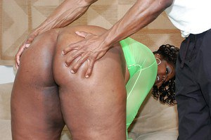 Ebony SSBBW vixen gets shagged and jizzed over her giant jugs