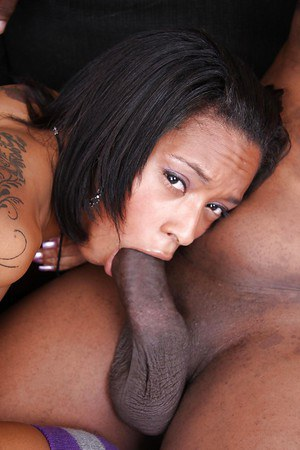 Ebony sugar in striped cotton stockings gobbles and fucks a huge black shlong