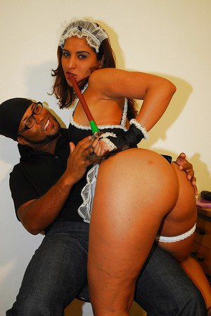 Slutty latina maid with big ass gets her twat drilled tough with a black shaft