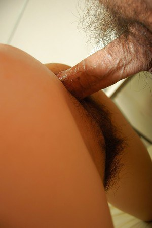 Horny asian slut gets her shaggy cunt banged tough and creampied