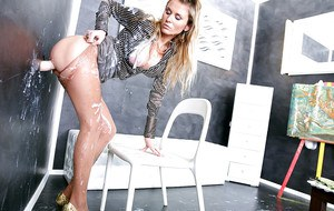 European fetish lady has some messy fun with a fake cock and fake jizz