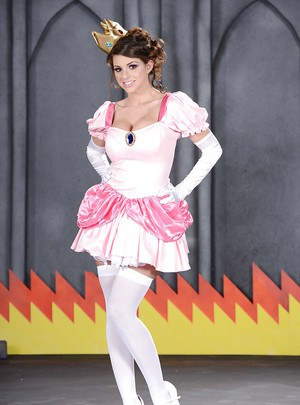 Smiley hottie in fancy cosplay outfit revealing her gorgeous curves