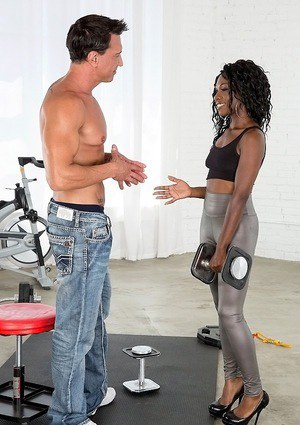 Sporty ebony slut with oiled up booty gets fucked and facialized