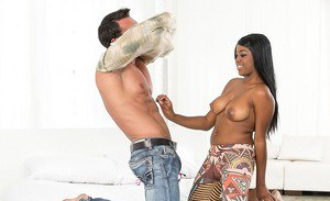 Curvy ebony teen with shaved cunt gets fucked and takes cum on her tongue
