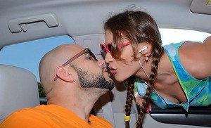 Frisky teen with pigtails gets tricked into handjob in the car