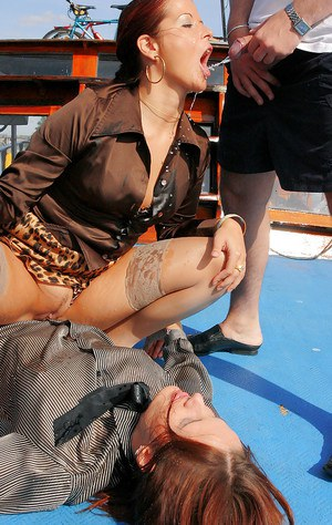 Slutty fetish chicks have some hardcore fully clothed pissing fun outdoor