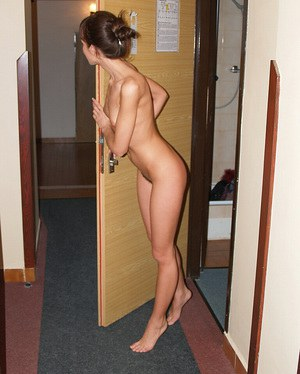 Smiley brunette with trimmed cooter undressing and exposing her slim curves