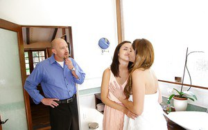 Lustful couple involves a perky teenie into passionate FFM groupsex