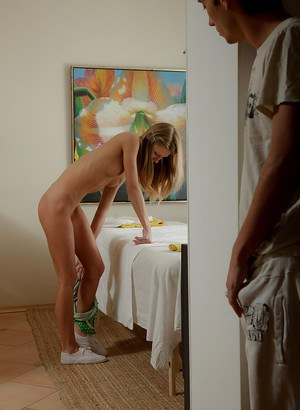 Lovely young babe undressing and getting ready for a hot massage