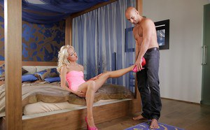 Luscious european blondie with shaved cunt blows and fucks a big boner