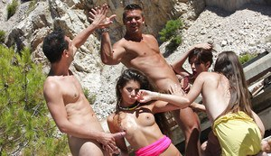 Luscious coeds getting drunk and going wild at the groupsex party outdoor
