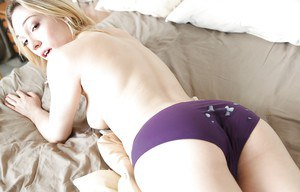 Dresirable blonde kitty gives a nooky and gets jizzed over her panties