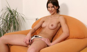 Svelte amateur with ample ass undressing and exposing her goods