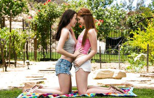Frolic teenage sweeties have a passionate lesbian sex outdoor