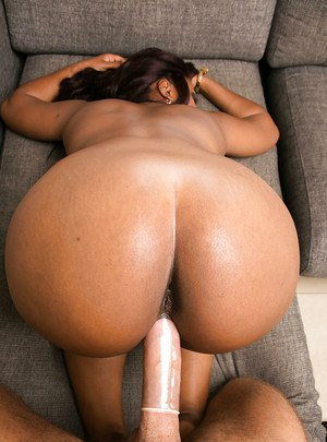 Buxom ebony cougar with massive melons fucks and blows off a white boner