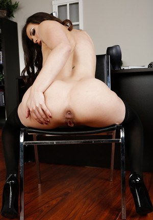 Frisky office hottie undressing and spreading her nylon clad legs