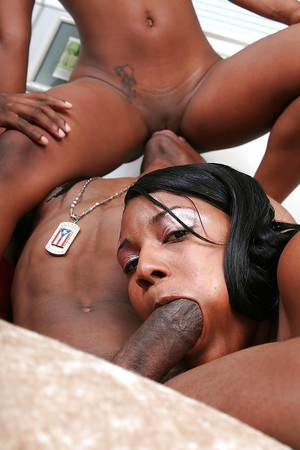 Jizz-starving ebony sluts sharing a meaty boner and a creamy cumshot