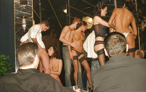 Seductive ladies get screwd tough and glazed with jizz at the groupsex party