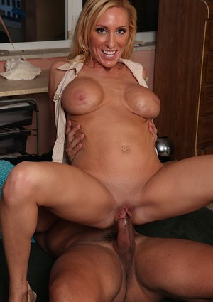 Frisky blonde mom with round jugs gives a nooky and gets shagged tough