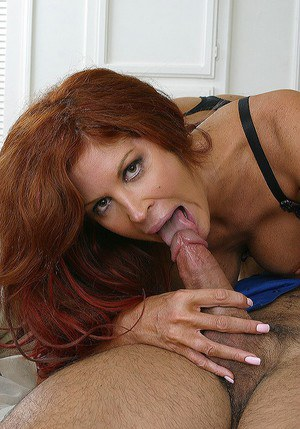 Lewd cougar blows and fucks two stiff dicks for jizz on her face and tits