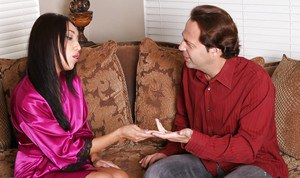 Sensuous asian girl gives a sensual massage and goes down on her client