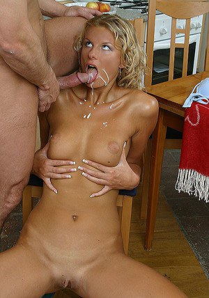 Ravishing blonde goes down on a stiff dick and gets her face and rack jizzed
