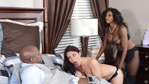 Juggy ebony MILF sharing a huge black cock with her white girlfriend