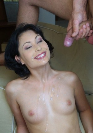 Lusty brunette hottie gets fucked for cum on her rack and smiley face
