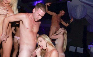 Seductive party girls enjoy a wild sex orgy in the private room