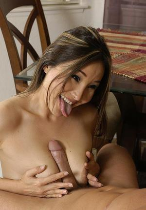 Bosomy asian MILF goes down on hung pizza-guy and gets properly shagged