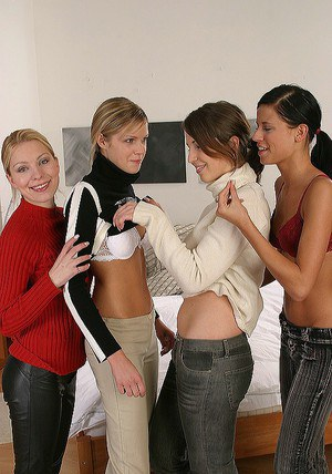 Four awesome babes kicks out unforgettable lesbian orgy today
