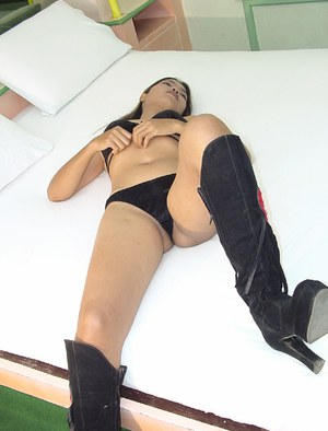 Shapely Asian bitch in high boots Yaul gets too fucking excited