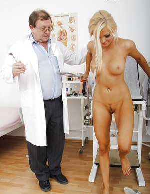 Gyno asks Nicky Angel to spread her legs and place a stick inside