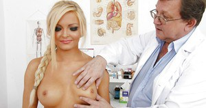Confident blonde Nicky Angel gets her mammal glands squeezed