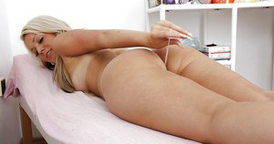 Fuckable european girl undressing and playing with gyno tools