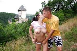 Horny girlfriend with freckled face gets fucked and tastes some cum outdoor