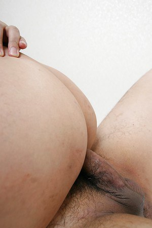 Mature asian gal with hairy pubis has some pussy fingering and fucking fun
